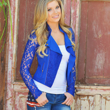 Just In Case Lace Jacket  Royal Blue