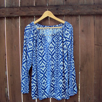 Plus Size Tribal Top Peasant Blouse Navy and White Boho Top Peasant Top Maternity Top Women Clothing Fashion Bohemian Style