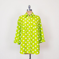 Lime Green Polka Dot Shirt Polka Dot Blouse Polka Dot Print 100% Silk Shirt Oversize Shirt Button Up Shirt 80s 90s Grunge Shirt Women S M L