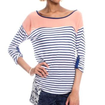 Peach and Blue Striped Top