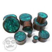 Sono Wood Plugs With Green Resin Inlay (6 Gauge - 1 Inch) | UrbanBodyJewelry.com