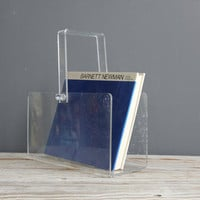 Modern Lucite Magazine Rack w/ Handle
