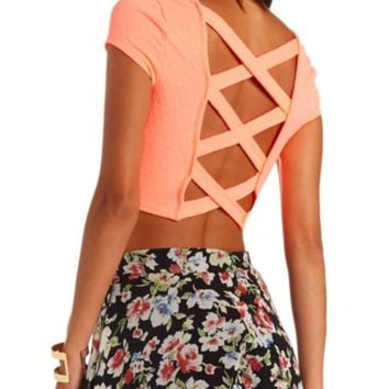 NEON STRAPPY OPEN BACK CROP TOP