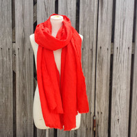 TOMATO RED Scarf - Long Red Scarf - Natural Eco Friendly Scarf - 4th of July Scarf