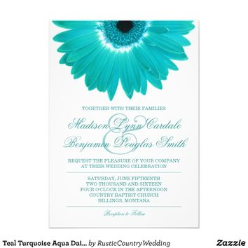 Teal Turquoise Aqua Daisy Wedding Invitations from Zazzle.com
