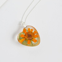 Pressed Flower Necklace , Orange Daisy, Real flower Jewelry, Love Necklace, Garden Lover