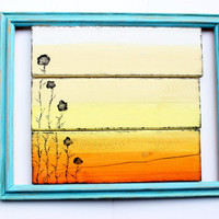 Malibu Sunset Original Framed Plank Painting Cream, Yellow, Orange Ombre Wall Hanging