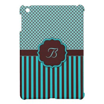 Monogram B Tartan Lt Teal n Brown iPAD MINI
