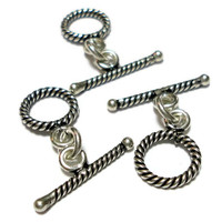 3 Toggle Clasps Sterling Silver 9mm Wrapped Design Destash Jewelry Supplies Findings Beads