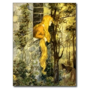 Vintage Rapunzel. Princess with Long Blonde Hair