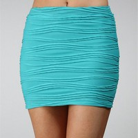 Mint Body Con Wavy Mini Skirt