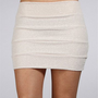 Pearl Banded Silver Mini Skirt
