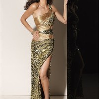 Off-the-shoulder gold/red Evening Dresses 2012 EDM055