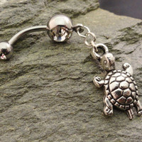 Turtle Belly Button Ring Crystal Belly Ring by MidnightsMojo