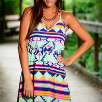 Easy Aztec Dress, Mint