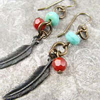 Feather arte metal earrings wtih Tuquoise blue and by CobwebCorner