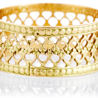 18K Gold Double Lace Bezel Ring