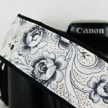 Camera Strap, Rose in Black and White, dSLR or SLR, Antique White,178 w
