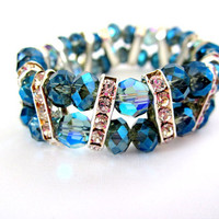 Blue Crystal Bracelet Multistrand Bracelet Stretch by diamondggems