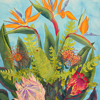 Fine art double matted giclee print, Tropical Flowers- available in 3 sizes, FREE shipping