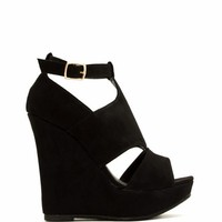 Cut-Out Paneled Peep-Toe Wedges