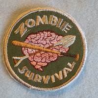 Zombie Survival Iron on Badge by GerriTullis on Etsy