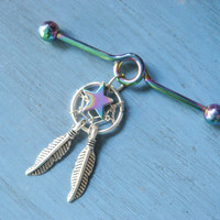 Rainbow Star Dream Catcher Industrial Piercing Barbell Dreamcatcher Feather Charm Dangle 14 Gauge 14g G Bar