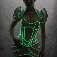 XS/S Nude PVC with glowing green trim overbust by ArtificeClothing