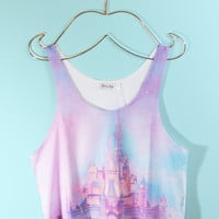 Pastel Dream Castle Crop Tank Top