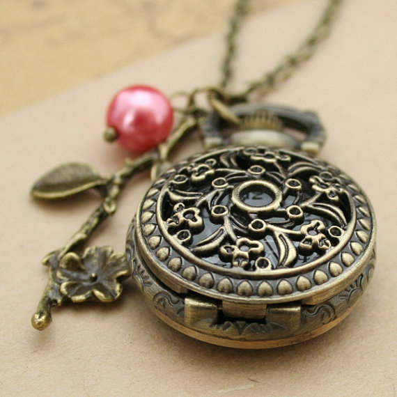 Antique pocket watch flower necklace bronze pendant by luckyvicky