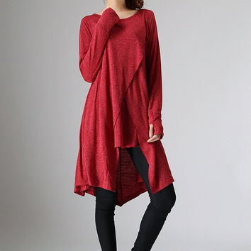 Red knit spring blouse