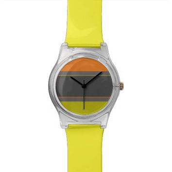 Modern lime orange stripes watch