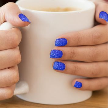 Minx nails royal blue glitter texture
