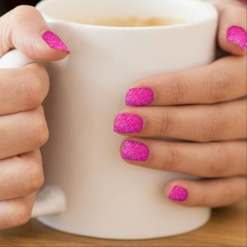 Minx nails hot cerise pink glitter texture