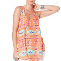 Peach Tribal Tank - ShopSosie.com