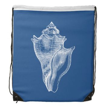 Sea Shell Blue Beach Drawstring Backpack