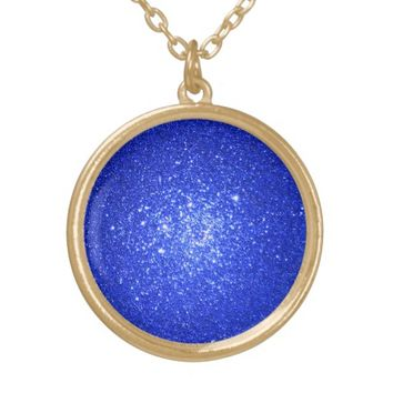 Gold Glitter pendant necklace Royal blue