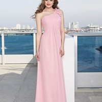 Lovely Empire Waist One Shoulder Chiffon Bridesmaid Dresses Wedding Party Gowns With Applique