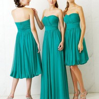 Stylish Empire Strapless Chiffon Bridesmaid Dresses Prom Gowns With Waist Band And Ruffles