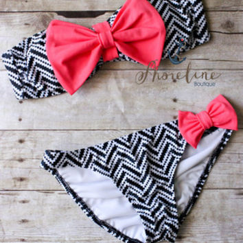 Bow Bikini: Black Chevron - Shoreline Boutique