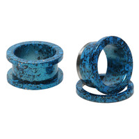 Steel Matte Blue And Black Splatter Spool Plugs 2 Pack