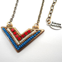 Necklace Tribal Chevron Mosaic Red White Blue by SimoneSutcliffe