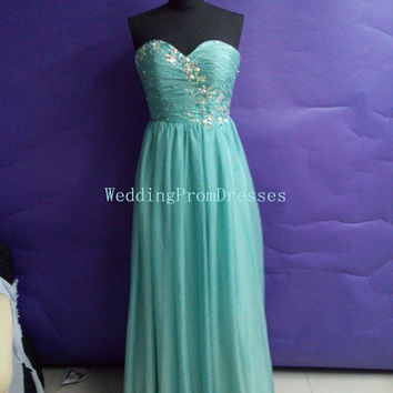 Charming Green Sweetheart Prom Dress with Beadings/Long Prom Dresses/Prom 2014/Dresses/Bridesmaid Dress/Evening Dresses