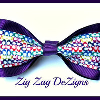 Tuxedo Bow  Coach Inspired with Purple Accents by zigzagdezigns