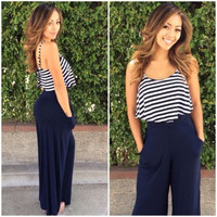 Striped Top Layer Jumpsuit - Midnight Navy