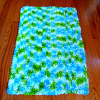 Shades of Summer Shaggy Crocheted Throw Rug