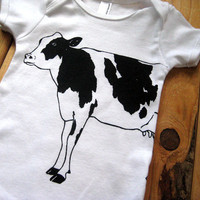 Screen Printed American Apparel Dairy Cow Baby by Rabbitapparel
