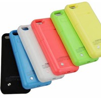 Slim External Rechargeable Backup Battery Charger Charging Case Cover for iPhone 5c with Pop-Out Kickstand 2200mAh (green)
