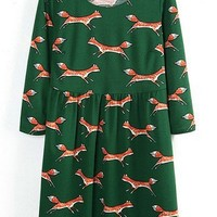 3/4 Sleeve Fox Dress