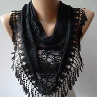 Black Scarf with Black Trim Edge Speacial Laced by SwedishShop